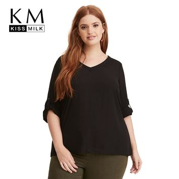 Kissmilk Women Plus Size Solid Color Clothing Back V-neck Cut Out Sexy Blouse Casual Regular Sleeve Big Size Shirt 3XL-7XL