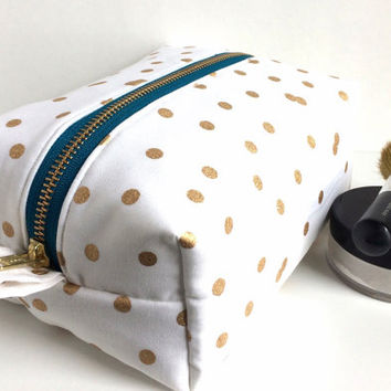 Large Boxy Bag, Large Makeup Bag, Bridal Makeup Bag, Brides Bag, Bridesmaid Gift, Polka Dot Makeup Bag, Large Pouch, Boxy Bag