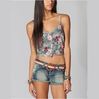 FULL TILT Button Front Floral Womens Crop Top