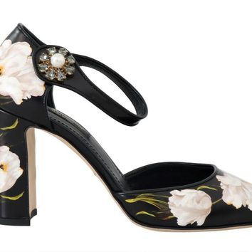 Dolce   Gabbana Black Tulip Leather Crystal Shoes 77a146afb