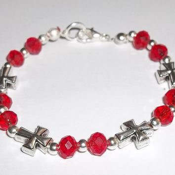"Childrens' Crosses Red Swarovski Crystal & Antiqued Silver 6"" Beaded Bracelet"