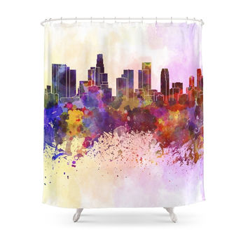 Society6 Los Angeles Skyline In Watercolor Background Shower Curtain