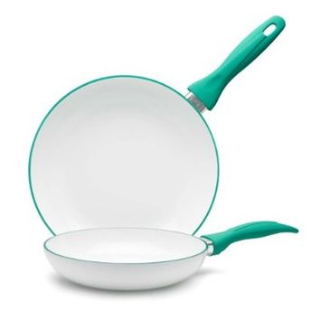 IKO Accent Ceramic Non Stick Pan with Cera2 Dual Layer Ceramic Non Stick Coating (8 Inch, Green)