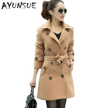 2017 Winter Trench Coat For Women Winter Casaco Blue Khaki Have Belt Double-Breasted Warm Cardigan Feminino Coat WD0145