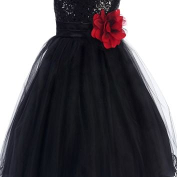 Black Sequined Bodice Dress with Lettuce Hem Tulle Skirt Girls 2T-14