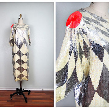 RARE Retro Sequin Dress • Fully Embellished HEAVY Dress • Art Deco Flapper Dress • Silk Beaded Sequined Dress