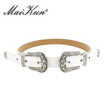 Maikun Fashion Vintage Double Pin Buckle Belts for Women Belt Brand Jeans Designer PU Leather Luxury Belt for Woman  cummerbunds