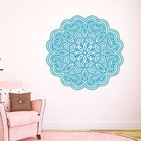 Wall Decals Lotus Vinyl Decal Mandala Sticker Decals for Bedroom Home Interior Design Art Mural Mandala Indian Pattern Amulet Floral Design Flower Decor KT131