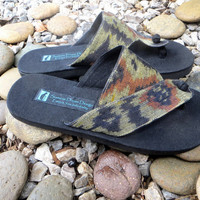 Vegan Men's Sandals in Rich Brown Hand Woven Ikat Cotton Flip Flops - Novak