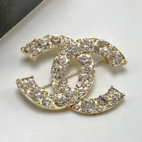 Chanel Women Fashion CC Logo Rhinestone Brooch