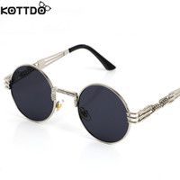 2016 men sunglasses luxury round lens steampunk sunglasses uv400 driving aviator sun glasses eyewear male  lunettes de soleil