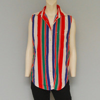 Vintage Women's Button Down Tank Top Sleeveless Shirt with Red, Blue, White and Green Vertical Stripes