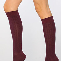 The Cable Knit Knee High Socks in Plum