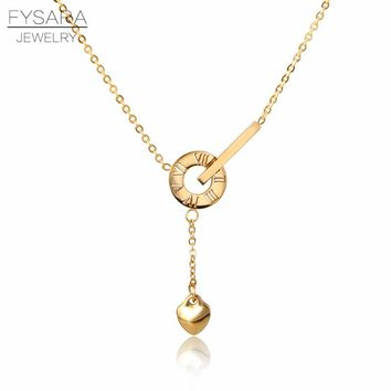 FYSARA Fashion Love Necklace & Pendant Heart Roman Numeral Round Necklace Luxury Collar Stainless Steel Jewelry Drop Shipping