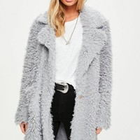 Missguided - Grey Fluffy Long Line Coat