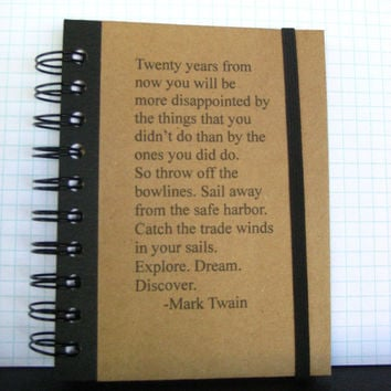 Journal Mark Twain Quote Notebook Handmade by Zany on Etsy by zany