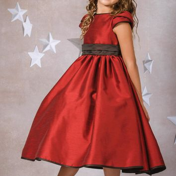 Red & Chocolate Slubbed Satin Girls Occasion Dress w. Tulip Sleeves 4T-14