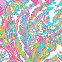 Lilly Pulitzer 12x 12 SCUBA to CUBA  Fabric 12x12  Summer 2015 jellyfish coral neon