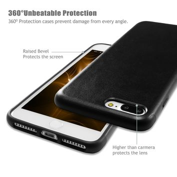 iPhone 7 Plus Black Leather Case / iPhone 8 Plus Black Leather Case, technext020 Ultra Slim Fit Artificial PU Synthetic Leather Case Shock Resistance Cover for iPhone 7 Plus / iPhone 8 Plus Black