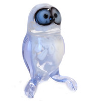 Hand-Blown Glass Polar Owl Figurine  (code 176)