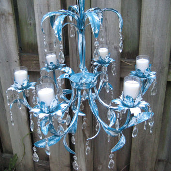 Vintage Ornate candle chandelier, turquoise, lagoon blue distressed chandelier, crystals, votive candles, decorative, mid century, 1099