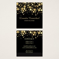 Gold Foil Confetti On Black Square Business Card