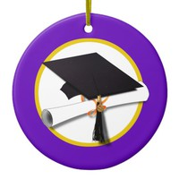 Graduation Cap w/Diploma - Purple Background Ceramic Ornament