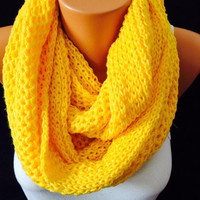 Knitted yellow scarf circle scarf  circle scarf infinity shawl chunky scarf knitted shawl elegant scarf woman accesories scarf soft yarn