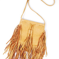 Fringe Stud Crossbody Bag - Brown