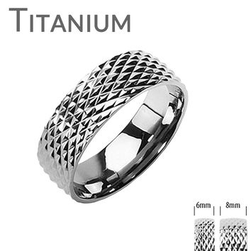 Parallels - FINAL SALE Artistic Titanium Snake Skin Design Ring