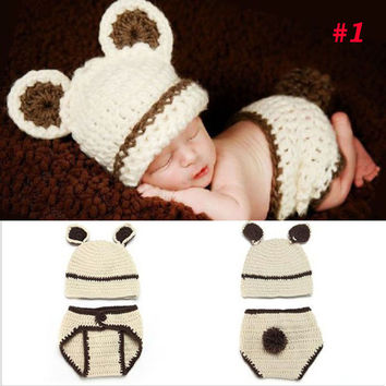 Handmade Crochet Photography Props Knitted Newborn Baby Hat Boy Girl Costume Outfit Fireman Cowboy Super Mario SG043