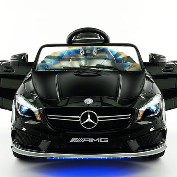 Mercedes Benz CLA45 Kids Ride On Car Toy MP3,USB,12V Bat,Powered Wheels R/C Black Metallic