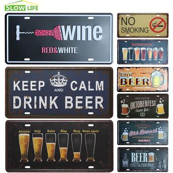 Drink Beer License Plate, Vintage Home Decor Tin Sign Bar Pub Garage Decorative Metal Sign Art Painting Plaque