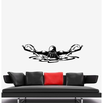 Wall Decal Swimmer Athlete Sport Swimming Pool Butterfly Brass Vinyl Sticker Unique Gift (ed660)