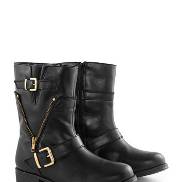 BORGER SHOES | Leather buckle ankle boots | navabi