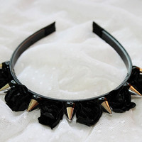 Virgin Liberty Spiked Headband (Black Roses)