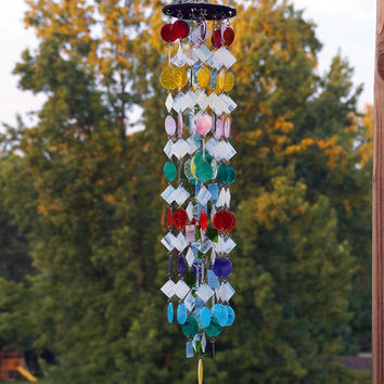 Stained Glass - Colored Glass - Wind Chimes - Sun Catcher - OOAK - Rainbow Tie-Dye