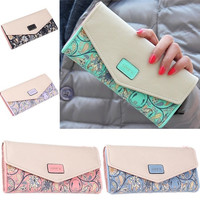 Women Flower Love Long Envelope Leather Purse Wallet Clutch Phone Cash Coin Card [7655947846]