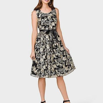 Belted Embroidered Mesh Dress | dressbarn