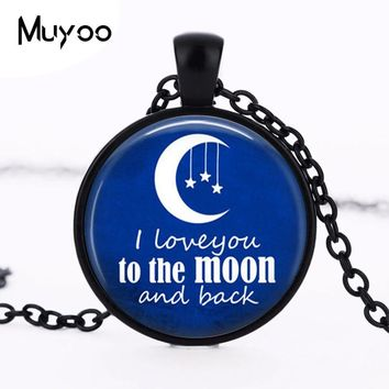 2017 new hot Silver Plated Glass dome pendant I love you to the moon and back necklace navy blue Art Pendant Moon necklace HZ1
