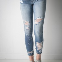 Karson Light Wash Distressed Kan Can Jeans