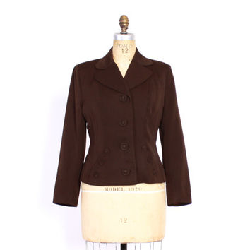Vintage 1940s BLAZER / Tailored 40s Dark Chocolate Brown Wool Gabardine Tailored Jacket S