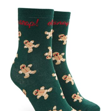 Oh Snap Gingerbread Print Socks