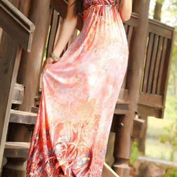 Watermelon Red Bohemian Printed Halter Maxi Dress