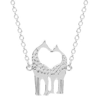 Silver Plated Trendy Double Giraffe Pendant Necklace