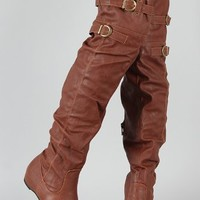 AMAR 14 Buckle Over The Knee Boots Cognac