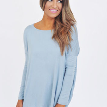 Long Sleeve Piko Top- Powder Blue