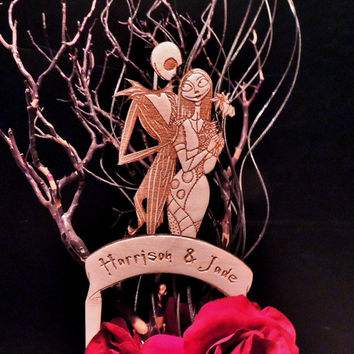 Jack and Sally Wood Wedding Cake Topper