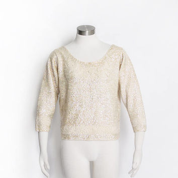 Vintage 1950s Sweater - Ivory Wool Knit White Sequin Beaded Embellished Fitted Pin Up 60s - Large