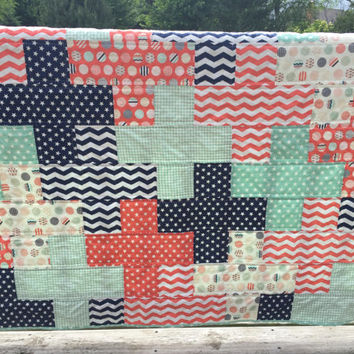 Baby Quilt, Modern Crib Bedding, Toddler Bedding, Coral, Mint, and Navy Prints, Ready to Ship Baby Quilt, Stars, Houndstooth, Chevron